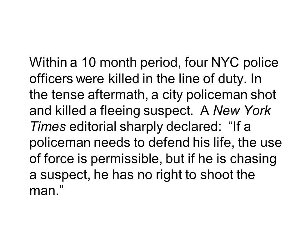 Within a 10 month period, four NYC police officers were killed in the line of duty. In the tense aftermath, a city policeman shot and killed a fleeing