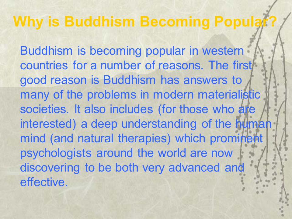 Buddhism is becoming popular in western countries for a number of reasons.