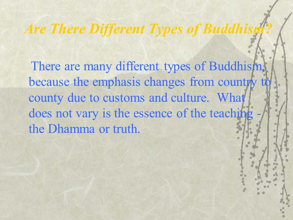 Are There Different Types of Buddhism? There are many different types of Buddhism, because the emphasis changes from country to county due to customs
