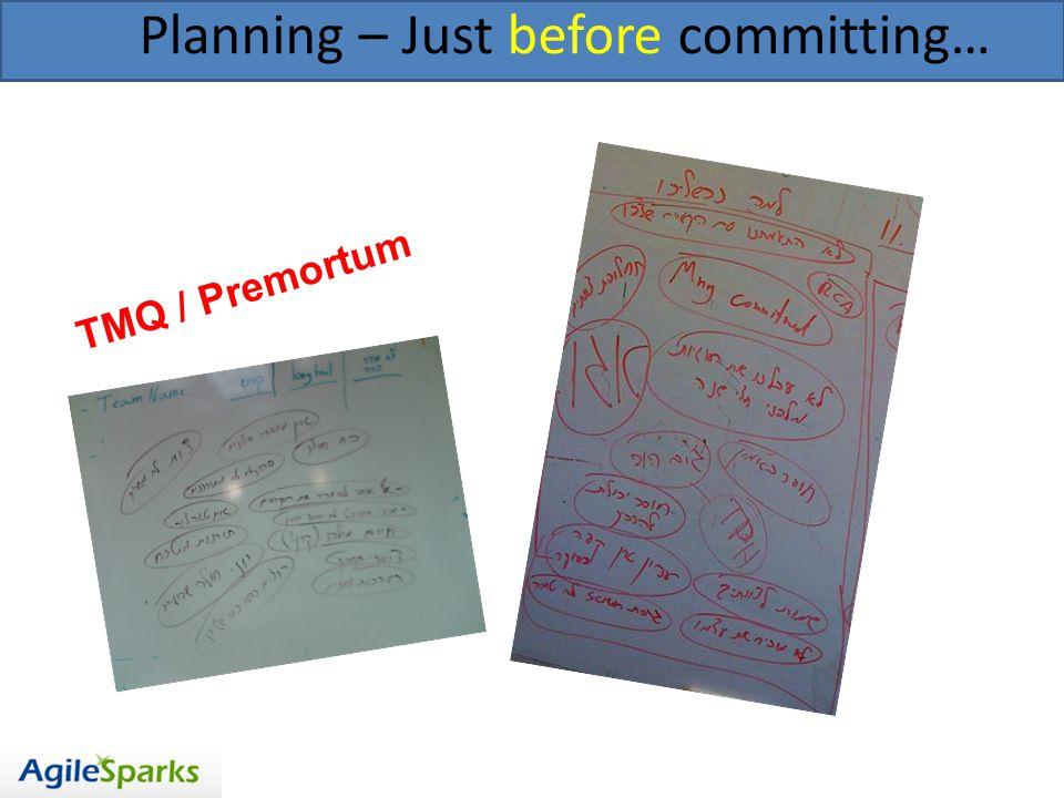 Planning – Just before committing… TMQ / Premortum