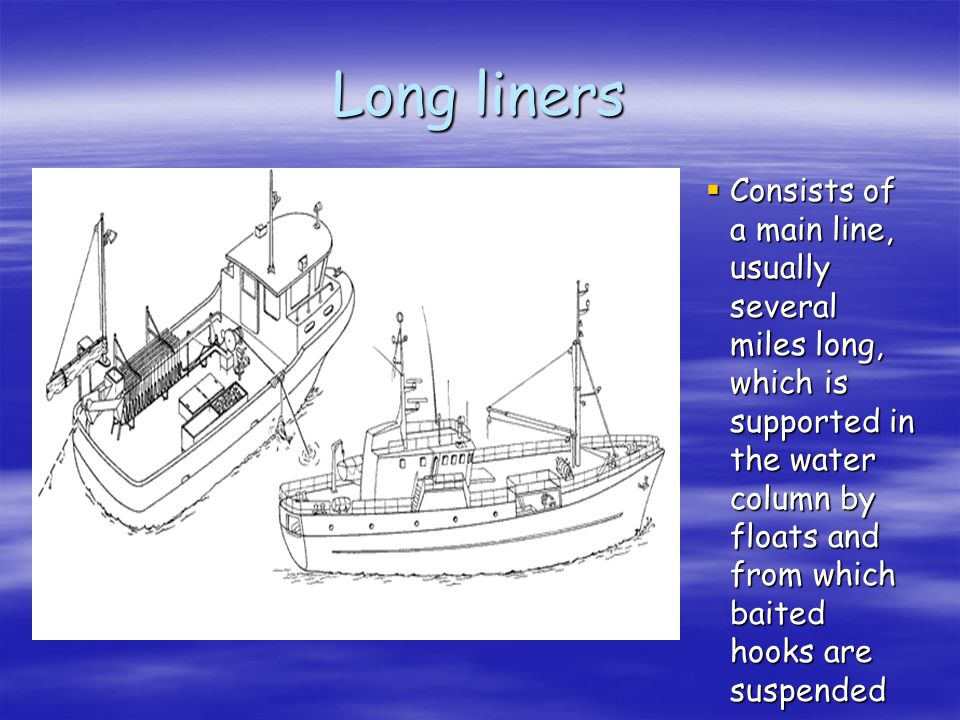 Long liners Consists of a main line, usually several miles long, which is supported in the water column by floats and from which baited hooks are susp