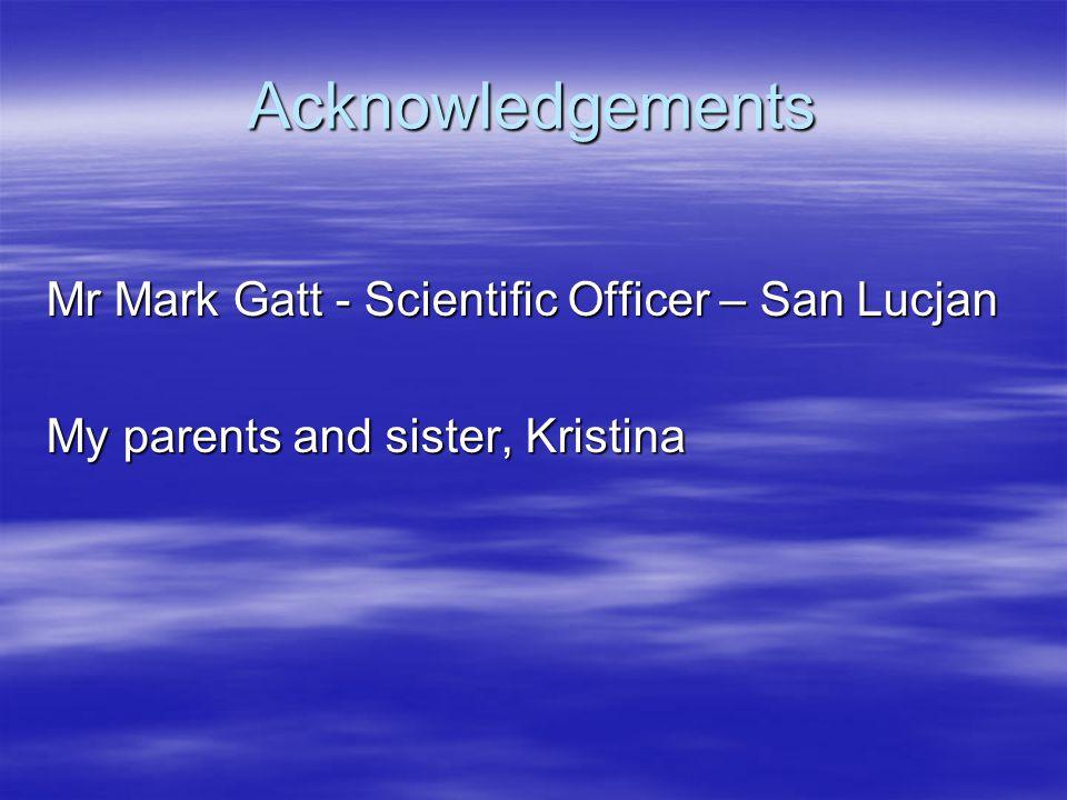 Acknowledgements Mr Mark Gatt - Scientific Officer – San Lucjan My parents and sister, Kristina
