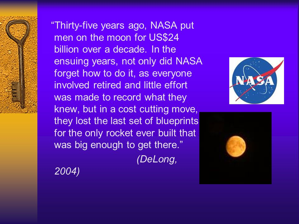 Thirty-five years ago, NASA put men on the moon for US$24 billion over a decade. In the ensuing years, not only did NASA forget how to do it, as every