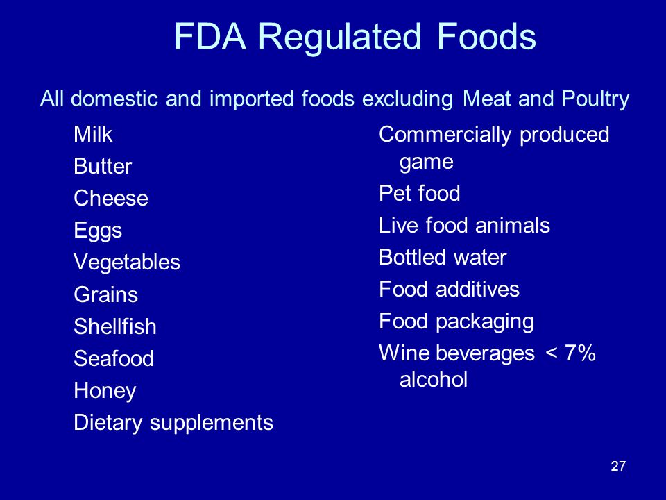 27 FDA Regulated Foods All domestic and imported foods excluding Meat and Poultry Milk Butter Cheese Eggs Vegetables Grains Shellfish Seafood Honey Di