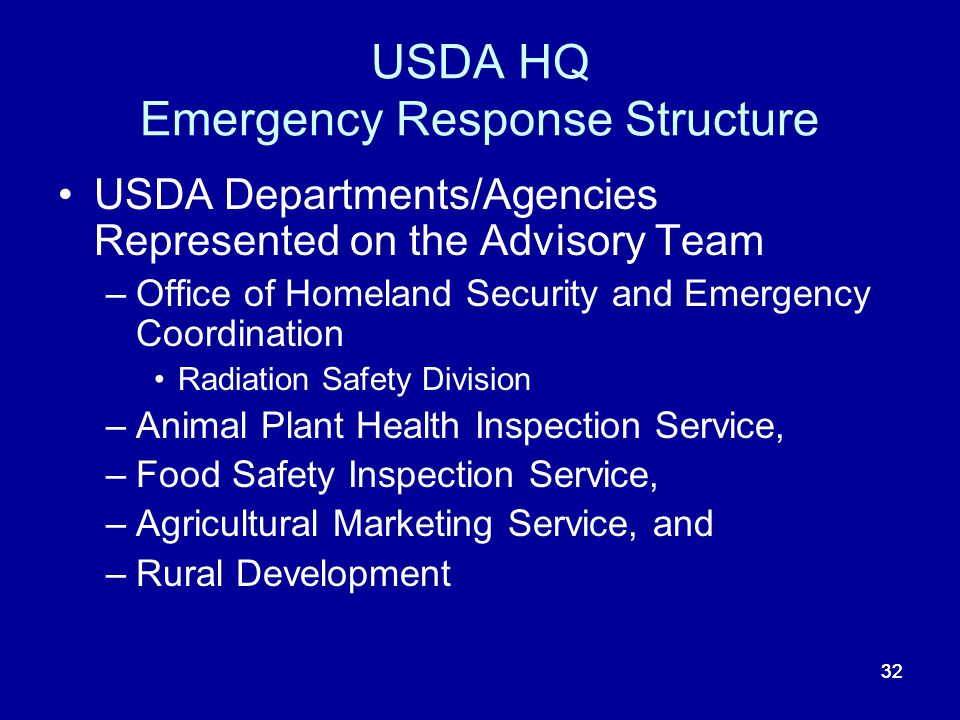 32 USDA HQ Emergency Response Structure USDA Departments/Agencies Represented on the Advisory Team –Office of Homeland Security and Emergency Coordina