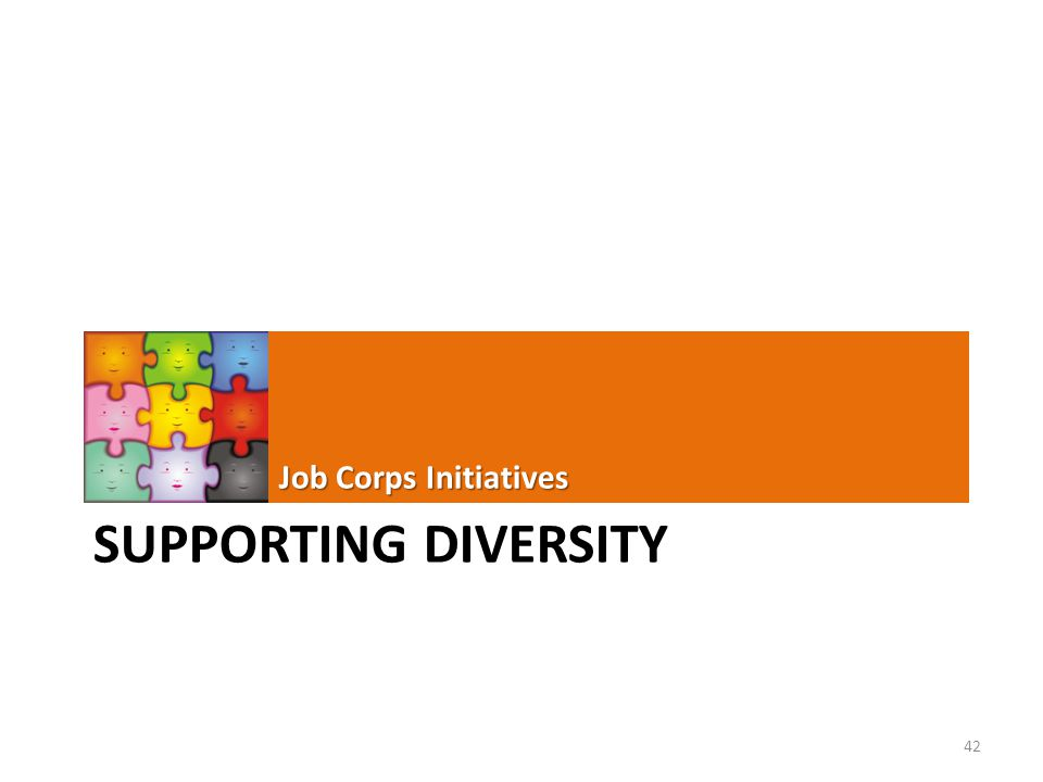 SUPPORTING DIVERSITY Job Corps Initiatives 42