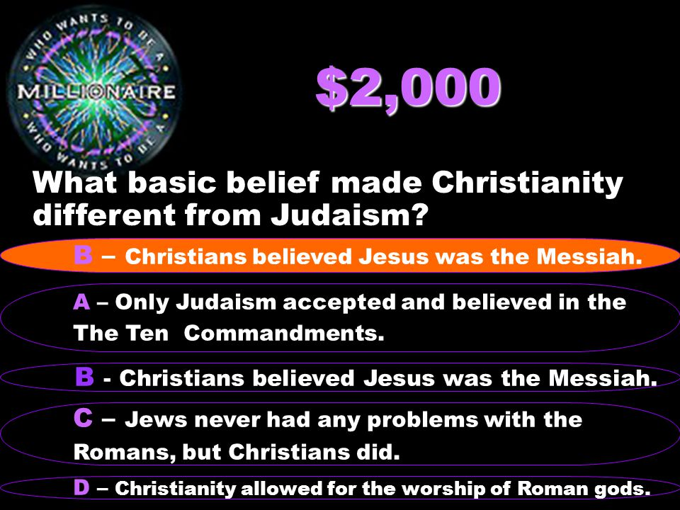 $2,000 What basic belief made Christianity different from Judaism.