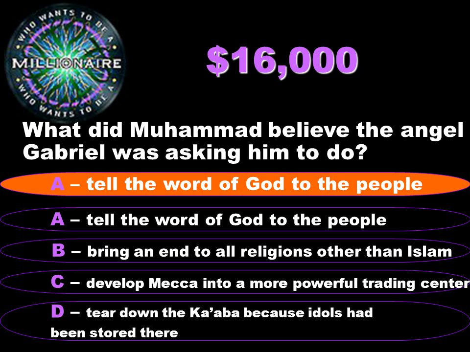 $16,000 What did Muhammad believe the angel Gabriel was asking him to do.