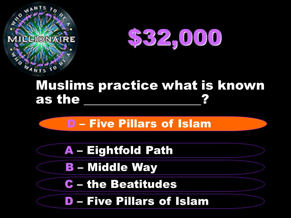 $32,000 Muslims practice what is known as the __________________.