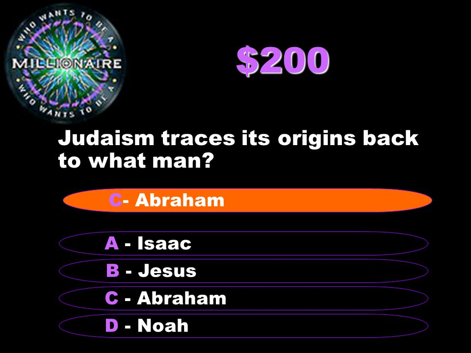$200 Judaism traces its origins back to what man.