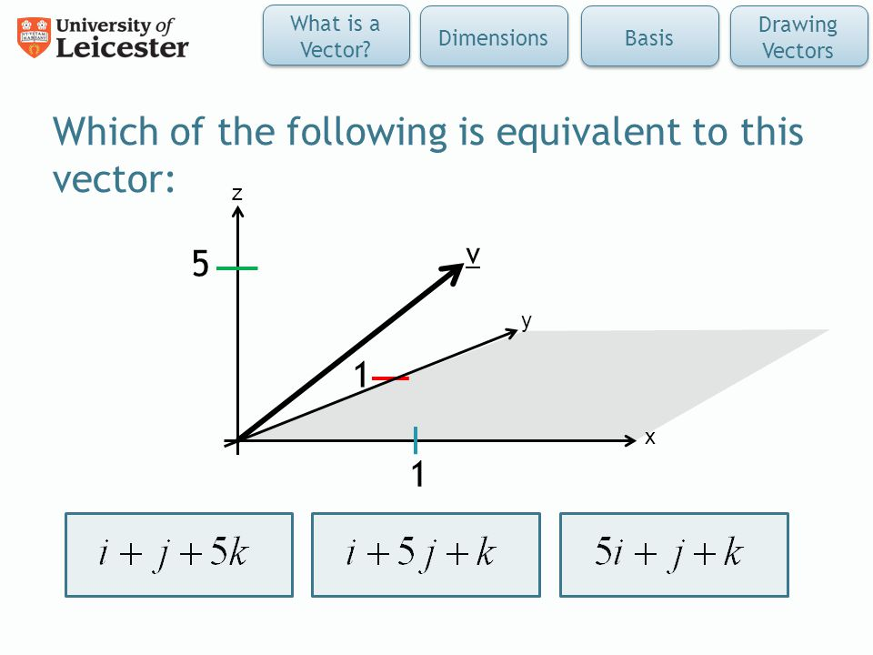Which of the following is equivalent to this vector: x z y v 5 1 1 What is a Vector.