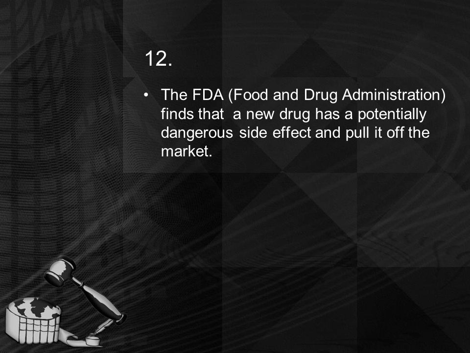 12. The FDA (Food and Drug Administration) finds that a new drug has a potentially dangerous side effect and pull it off the market.