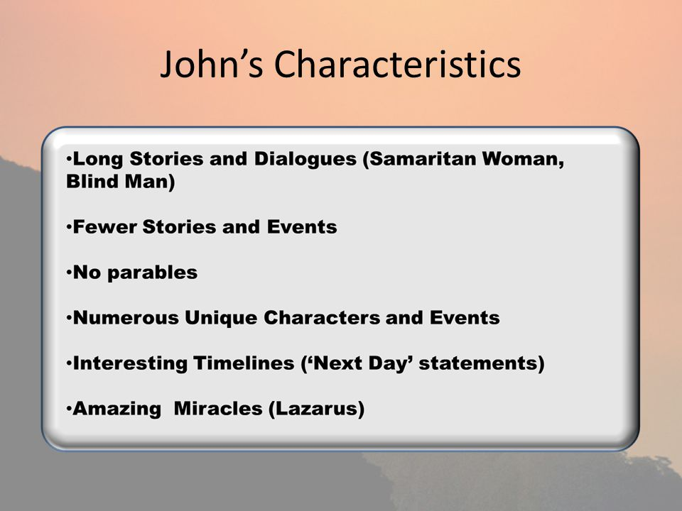Johns Characteristics