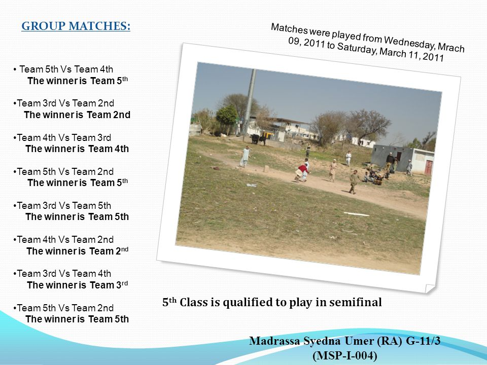 GROUP MATCHES: Matches were played from Wednesday, Mrach 09, 2011 to Saturday, March 11, 2011 5 th Class is qualified to play in semifinal Madrassa Syedna Umer (RA) G-11/3 (MSP-I-004) Team 5th Vs Team 4th The winner is Team 5 th Team 3rd Vs Team 2nd The winner is Team 2nd Team 4th Vs Team 3rd The winner is Team 4th Team 5th Vs Team 2nd The winner is Team 5 th Team 3rd Vs Team 5th The winner is Team 5th Team 4th Vs Team 2nd The winner is Team 2 nd Team 3rd Vs Team 4th The winner is Team 3 rd Team 5th Vs Team 2nd The winner is Team 5th