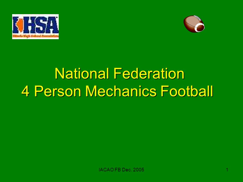 IACAO FB Dec. 20051 National Federation 4 Person Mechanics Football