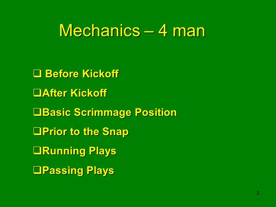 3 Mechanics – 4 man Before Kickoff Before Kickoff After Kickoff After Kickoff Basic Scrimmage Position Basic Scrimmage Position Prior to the Snap Prio
