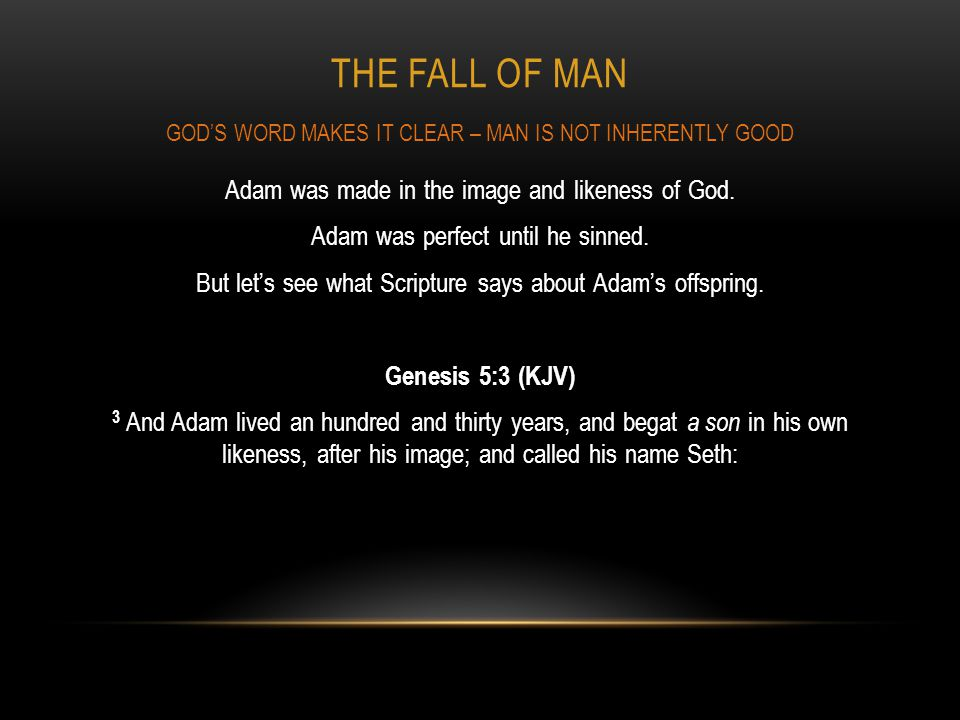 THE FALL OF MAN Adam was made in the image and likeness of God. Adam was perfect until he sinned. But lets see what Scripture says about Adams offspri