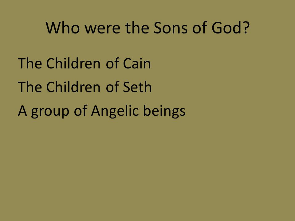 Who were the Sons of God The Children of Cain The Children of Seth A group of Angelic beings