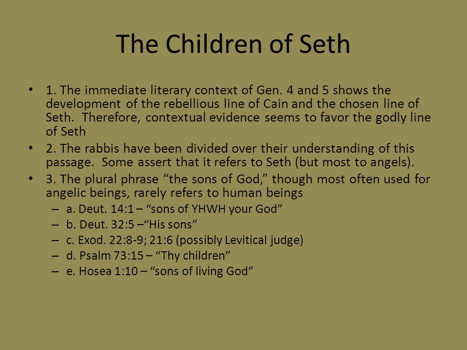 The Children of Seth 1. The immediate literary context of Gen.