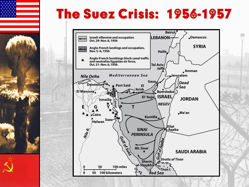 Middle East –Suez Canal: Egypt began accepting aid and weapons from USSR and other communist nations –Britain, France and Israel attacked; wanting con