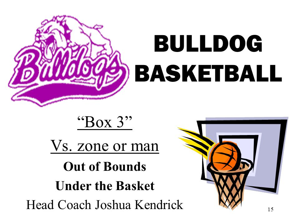 15 BULLDOG BASKETBALL Box 3 Vs. zone or man Out of Bounds Under the Basket Head Coach Joshua Kendrick