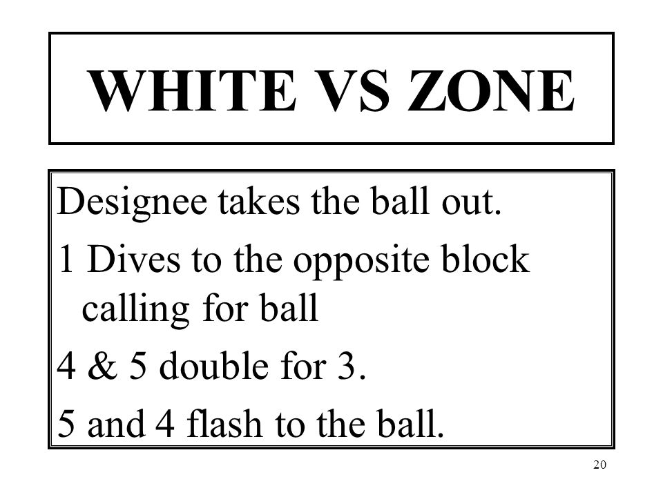 20 WHITE VS ZONE Designee takes the ball out.