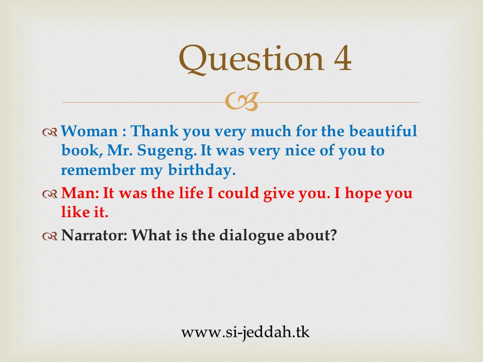 Questions & Responses Questions Number 5 - 7 Part II www.si-jeddah.tk
