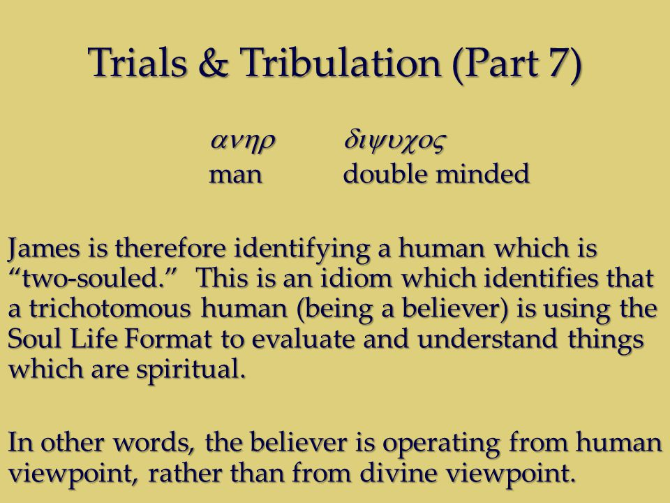 Trials & Tribulation (Part 7) mandouble minded James is therefore identifying a human which is two-souled.