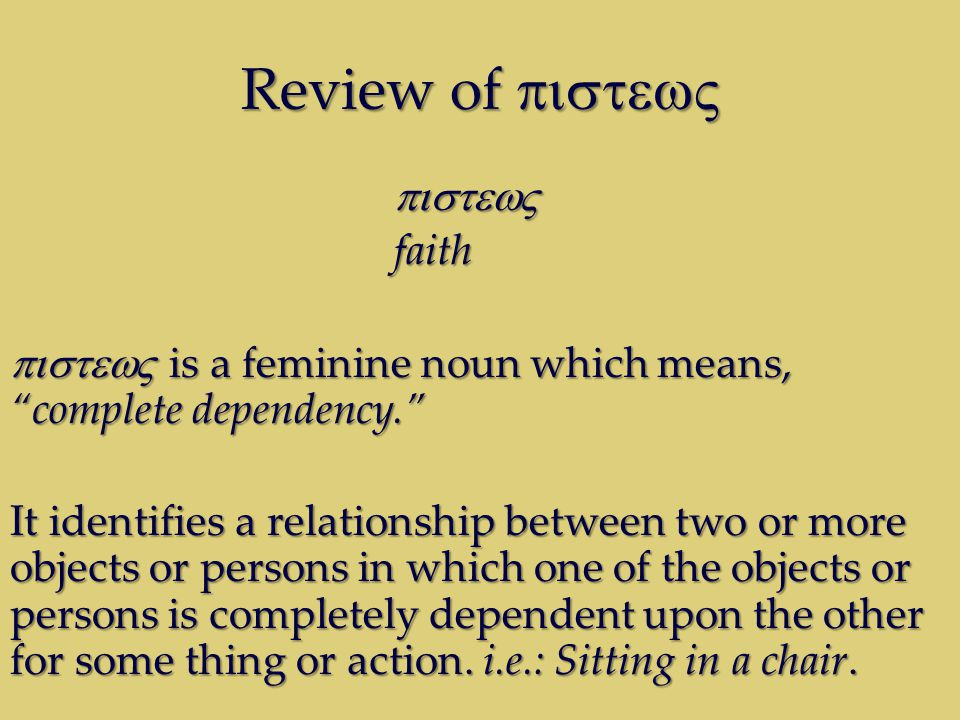 Review of Review of faith is a feminine noun which means, complete dependency.