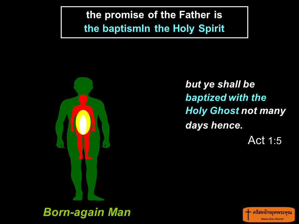 but ye shall be baptized with the Holy Ghost not many days hence. Act 1:5 the promise of the Father is the baptismIn the Holy Spirit Born-again Man