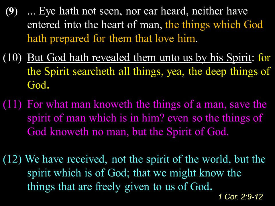 (9)... Eye hath not seen, nor ear heard, neither have entered into the heart of man, the things which God hath prepared for them that love him. (10)Bu