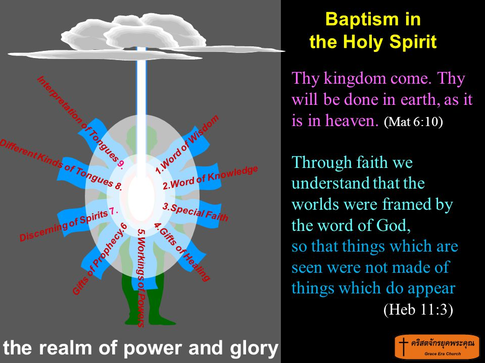 the realm of power and glory Thy kingdom come. Thy will be done in earth, as it is in heaven. (Mat 6:10) Through faith we understand that the worlds w