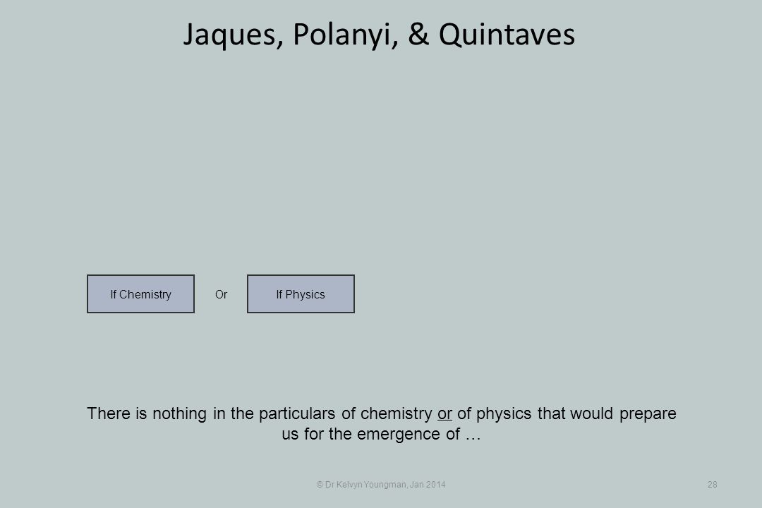 © Dr Kelvyn Youngman, Jan 201428 Jaques, Polanyi, & Quintaves There is nothing in the particulars of chemistry or of physics that would prepare us for