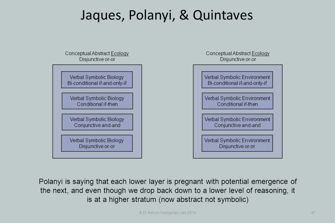 © Dr Kelvyn Youngman, Jan 201447 Jaques, Polanyi, & Quintaves Polanyi is saying that each lower layer is pregnant with potential emergence of the next, and even though we drop back down to a lower level of reasoning, it is at a higher stratum (now abstract not symbolic) Verbal Symbolic Biology Disjunctive or-or Verbal Symbolic Biology Conjunctive and-and Verbal Symbolic Biology Conditional if-then Verbal Symbolic Biology Bi-conditional if-and-only-if Conceptual Abstract Ecology Disjunctive or-or Verbal Symbolic Environment Disjunctive or-or Verbal Symbolic Environment Conjunctive and-and Verbal Symbolic Environment Conditional if-then Verbal Symbolic Environment Bi-conditional if-and-only-if Conceptual Abstract Ecology Disjunctive or-or