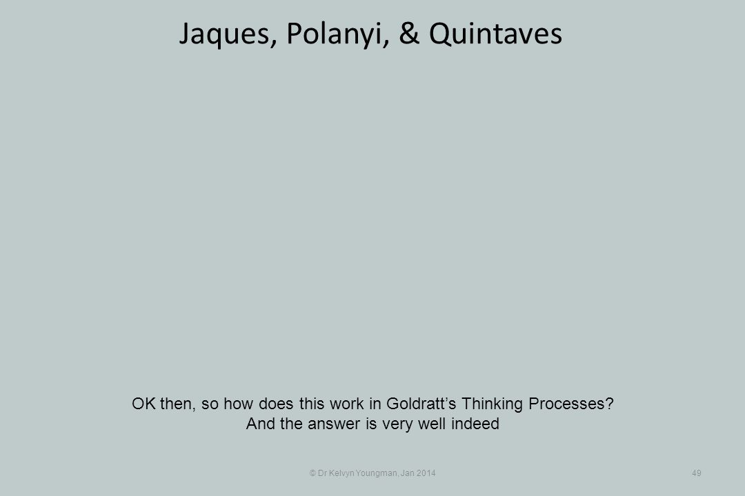 © Dr Kelvyn Youngman, Jan 201449 Jaques, Polanyi, & Quintaves OK then, so how does this work in Goldratts Thinking Processes? And the answer is very w