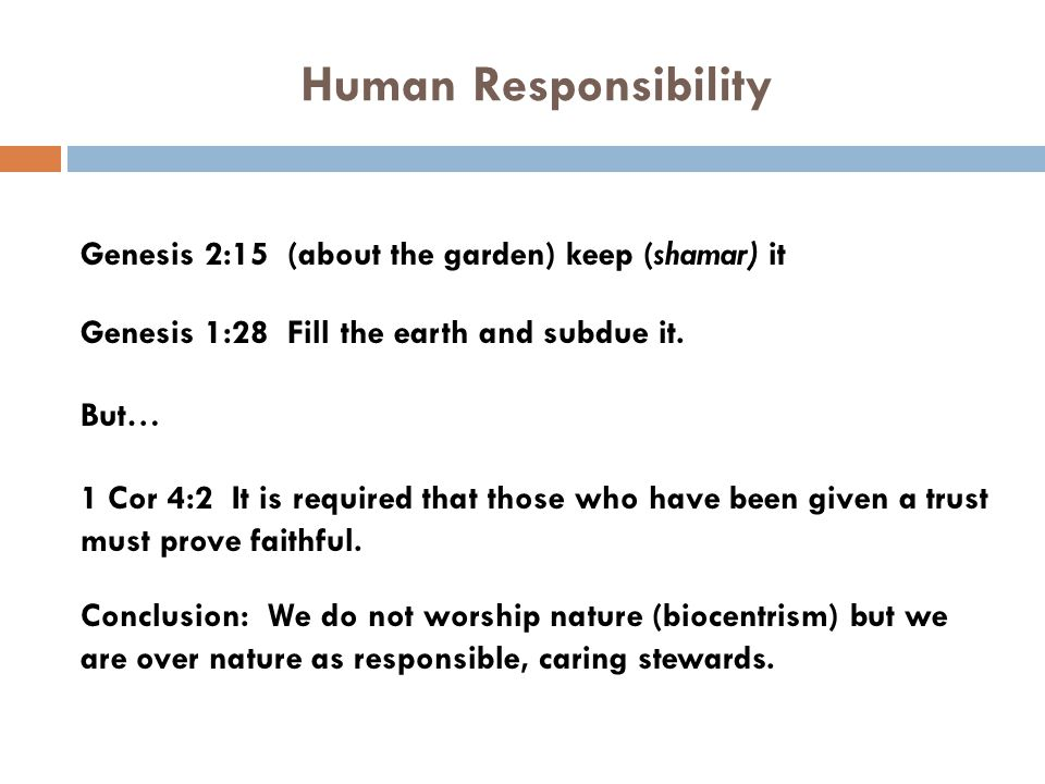Human Responsibility Genesis 2:15 (about the garden) keep (shamar) it Genesis 1:28 Fill the earth and subdue it. But… 1 Cor 4:2 It is required that th