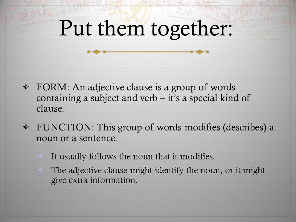 Identifying/Necessary If a clause gives information that identifies the noun – that is necessary to understand the information in the sentence – dont use commas.