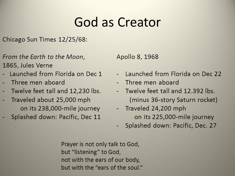 God as Creator Chicago Sun Times 12/25/68: From the Earth to the Moon, 1865, Jules Verne - Launched from Florida on Dec 1 -Three men aboard -Twelve fe