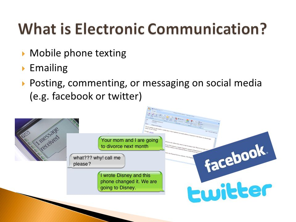 Mobile phone texting Emailing Posting, commenting, or messaging on social media (e.g. facebook or twitter)