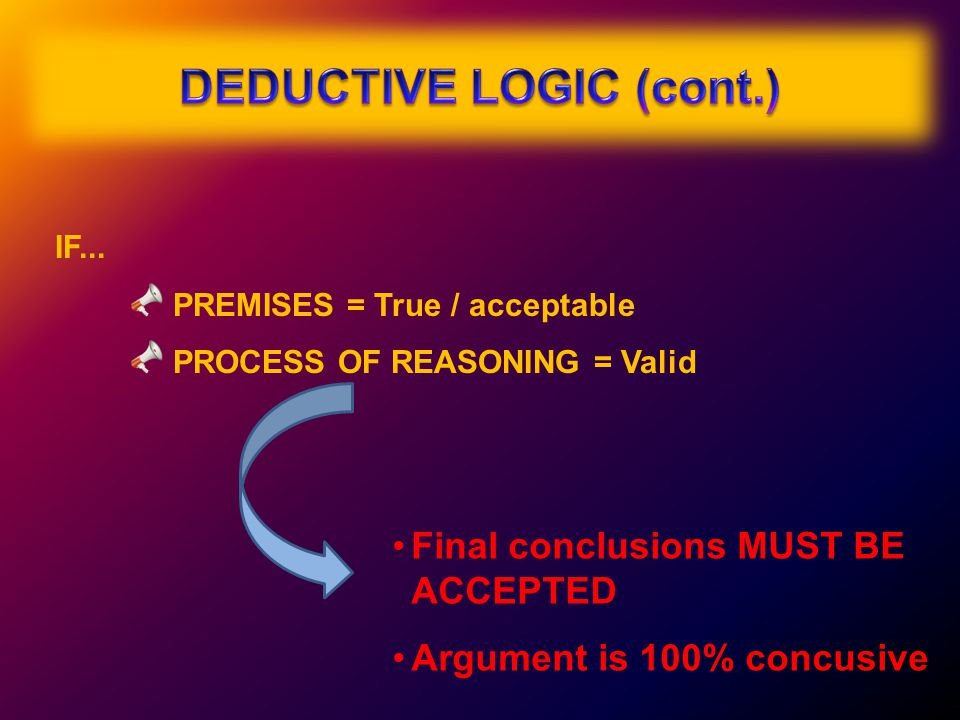 IF... PREMISES = True / acceptable PROCESS OF REASONING = Valid Final conclusions MUST BE ACCEPTED Argument is 100% concusive