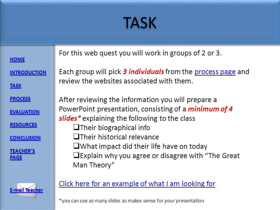 HOME INTRODUCTION TASK PROCESS EVALUATION RESOURCES CONCLUSION TEACHERS PAGE TEACHERS PAGE E-mail Teacher E-mail Teacher The great man theory is an ol