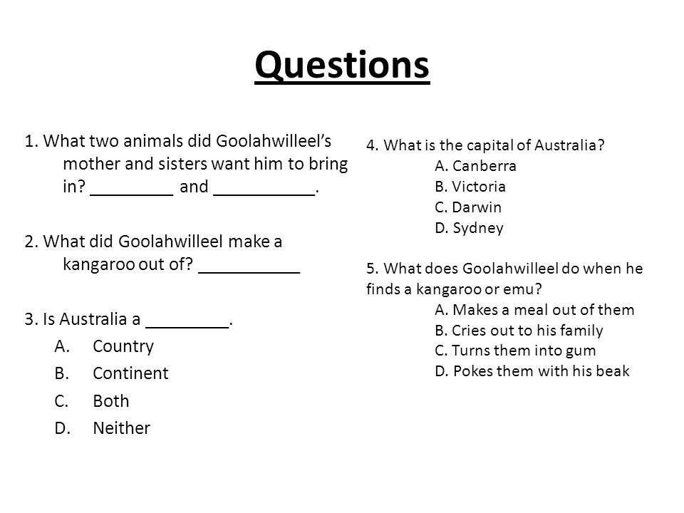 Questions 1. What two animals did Goolahwilleels mother and sisters want him to bring in.