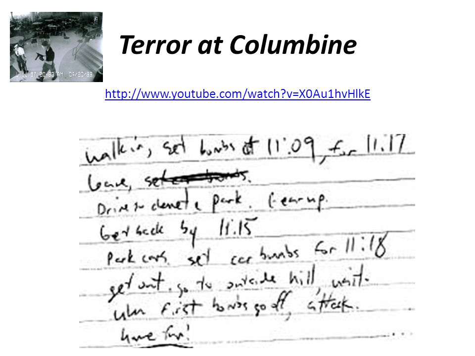 Terror at Columbine http://www.youtube.com/watch?v=X0Au1hvHlkE