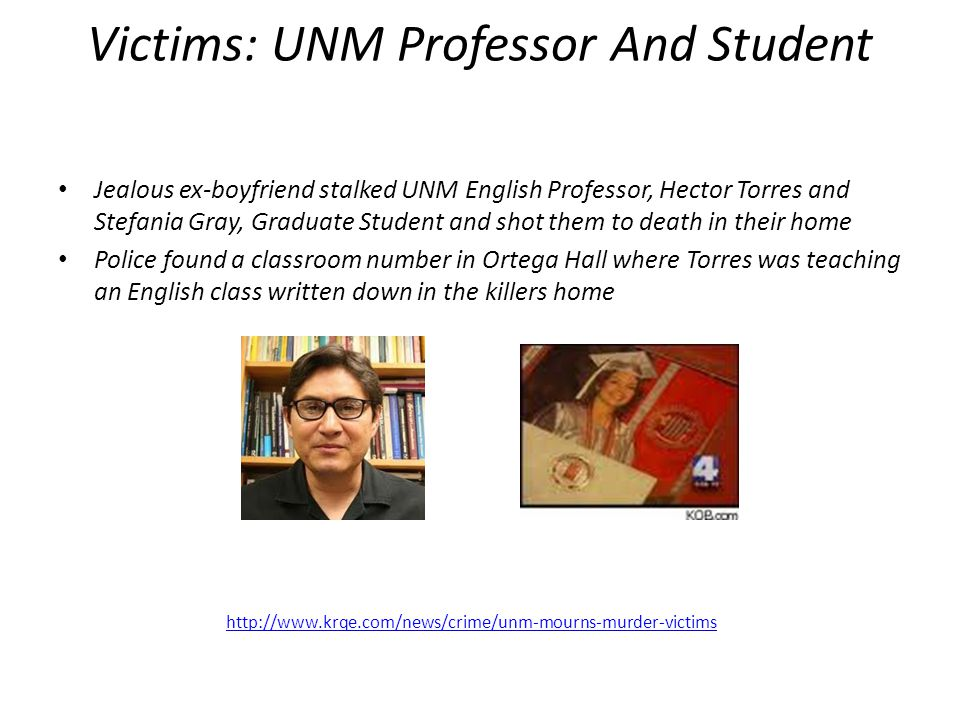 Victims: UNM Professor And Student Jealous ex-boyfriend stalked UNM English Professor, Hector Torres and Stefania Gray, Graduate Student and shot them