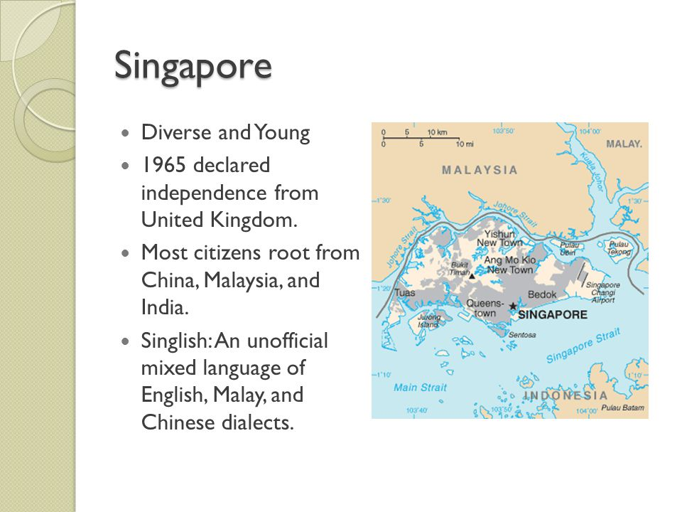 Singapore Diverse and Young 1965 declared independence from United Kingdom.