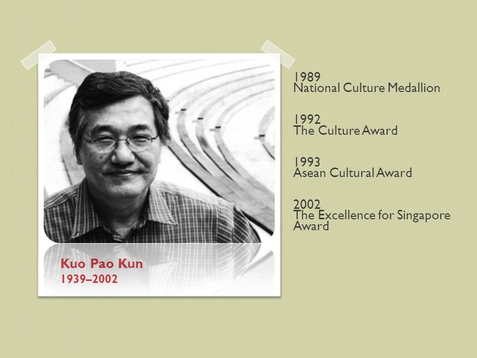 Kuo Pao Kun 1939–2002 1989 National Culture Medallion 1992 The Culture Award 1993 Asean Cultural Award 2002 The Excellence for Singapore Award