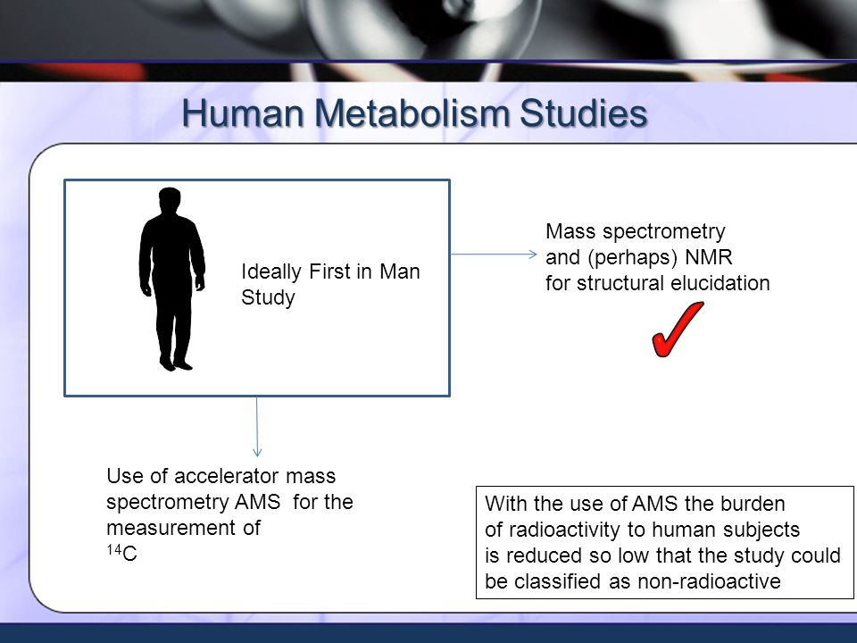 Xceleron - all rights reserved ©2009 Human Metabolism Studies Mass spectrometry and (perhaps) NMR for structural elucidation Scintillation counting for 14 C for quantitation Ideally First in Man Study Use of accelerator mass spectrometry AMS for the measurement of 14 C With the use of AMS the burden of radioactivity to human subjects is reduced so low that the study could be classified as non-radioactive