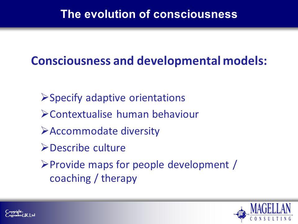 Copyright : Cognadev UK Ltd The evolution of consciousness Consciousness and developmental models: Specify adaptive orientations Contextualise human b