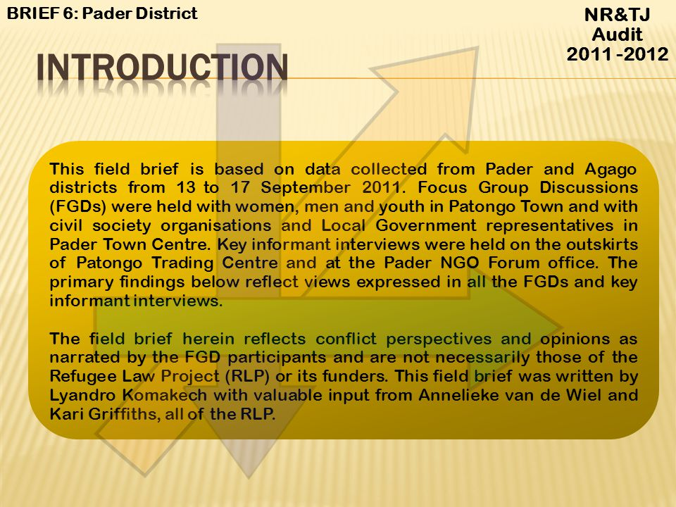 NR&TJ Audit 2011 -2012 BRIEF 6: Pader District Accessed at http://www.prdp.org.ug/manage/photos/acholi-Pader%20District%20Administrative%20boundaries.