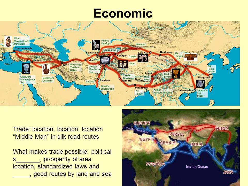 Economic Trade: location, location, location Middle Man in silk road routes What makes trade possible: political s_______, prosperity of area location, standardized laws and _____, good routes by land and sea